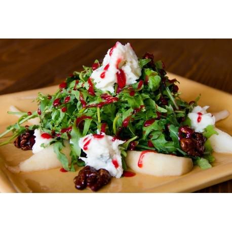 Körtés gorgonzola saláta, karamellizált pirított dióval és málnaecettel